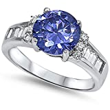 Best Seller Simulated Tanzanite & Cz Engagement Fashion .925 Sterling Silver Ring Sizes 5-12