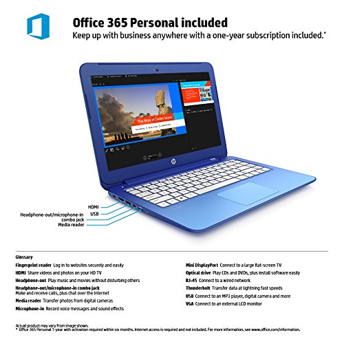 HP Stream 13 Laptop Includes Office 365 Personal for One Year (Horizon Blue)