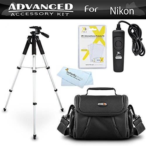 Tripod Bundle Kit For Nikon D7200, Df, D750, D5500, D5300, D3300, D5200, D3200, D5100 D7100 D600 D610 D800 D810 Digital SLR Camera Includes 57 Inch Tripod + Remote Shutter Release + Carrying Case ++ (Nikon Camera Stand compare prices)