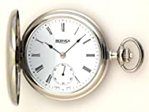 Bernex Swiss Made Rhodium Plated Pocket Watch with 17 Jewel Mechanical Movement
