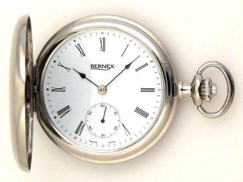 Женские карманные часы Bernex Swiss Made Rhodium Plated Pocket Watch with 17 Jewel Mechanical Movement