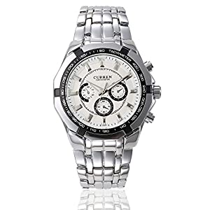 GOHUOS Men's Sport Outdoors Quartz Analog Stainless Steel Band Dress Wrist Watch White