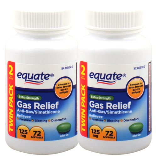 Equate Extra Strength Gas Relief 125 mg 72 Softgels (Twin Pack) (Gas X Softgels compare prices)