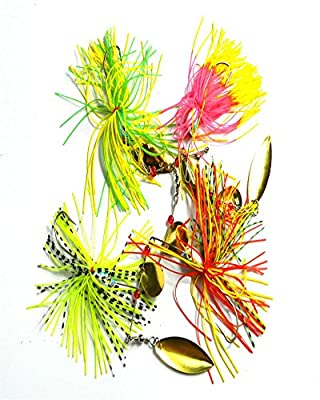 Ucsports Classic 4 pcs spinner bait sequins lure buzzbait fishing lure for Striped bass and Blackfish by Ucsports