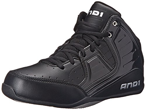 AND 1 Men's Rocket 4.0 Basketball Shoe, Black/Black-Silver, 12 M US