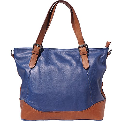 BORSA TOTE, borsa a spalla 6140 (Blu scuro-marrone)