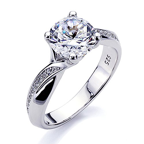 Platinum Plated Sterling Silver 2ct Round CZ Solitaire Bypass Wedding Engagement Ring ( Size 5 to 9 ), 7
