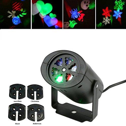 LED Bunte Lampe mit 4 Umtauschbaren Linsen, Projektionslampe, für Dekoration Weihnachten Hochzeit Party, Bunte Lichtfarbe