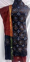 Shubh Women's Dress Material (7998CDBKMR_Black Maroon_Free Size)