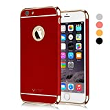 iPhone 6S Case, Vansin 3 In 1 Ultra Thin and Slim Hard Case Coated Non Slip Matte Surface with Electroplate Frame for Apple iPhone 6 (4.7'')(2014) and iPhone 6S (4.7'')(2015) -- Red & Gold