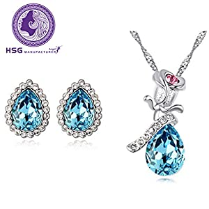HSG Mode Mädchen blau Kristall Rose Crystal Jewelry Set Jewelry Earrings & Necklace Christmas Gift
