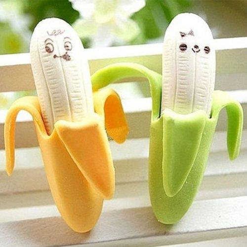 Neuheit Briefpapier Banana Expression Radiergummis für Kinder 2 Stück
