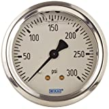 WIKA 9767240 Industrial Pressure Gauge, Liquid/Refillable, Copper Alloy Wetted Parts, 2-1/2