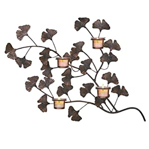 Grasslands Road World Garden Gingko Leaf Four Tealight/Votive Holder Wall Plaque with Amber Glass Candle Cups