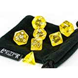 Polyhedral Dice Set Yellow Translucent | 7 Piece | PRISTINE Edition | FREE Carrying Bag | Hand Check