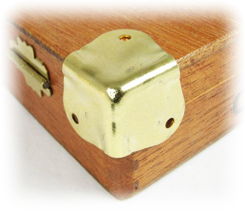 Decorative Box Corner Brass Plated : Pcs heavy duty square brass plated box corners with