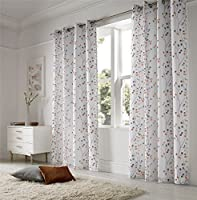 "Linen Look Floral Orange White 57x90"" 145x229cm Lined Ring Top Voile Curtains Drapes from Curtains"