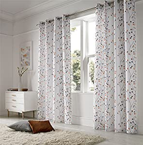 """Linen Look Floral Orange White 57x90"""" 145x229cm Lined Ring Top Voile Curtains Drapes from Curtains"""