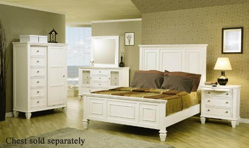 4pc Queen Size Bedroom Set Cape Cod Style in White Finish ...