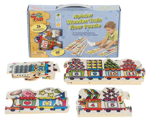 Cheap Puzzles for Fun DELUXE EDUCATIONAL LEARNING THE ALPHABET WOODEN TRAIN FLOOR PUZZLE (B003TIQA7W)