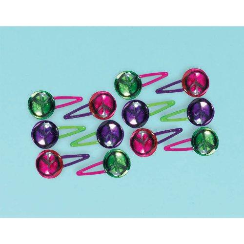 Amscan Groovy Neon Doodle Barrette (12 Piece), Green/Pink/Purple