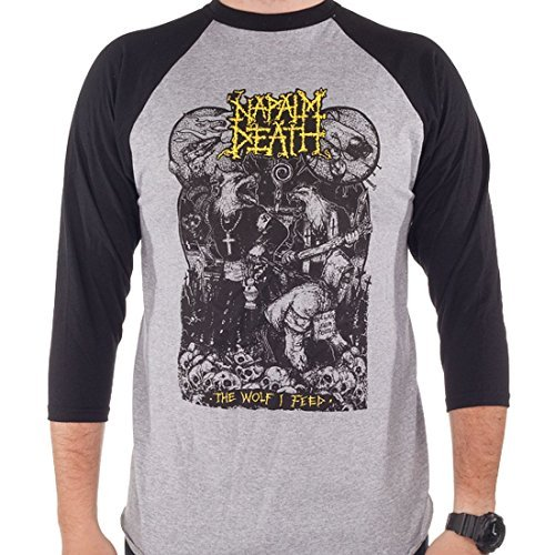 Napalm Death - Wolf I Feed Raglan Baseball T-Shirt (X-Large)