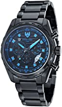 Swiss Eagle Chronograph Engineer Field Men's Quartz Watch with Black Dial Analogue Display and Black Stainless Steel Plated Bracelet SE-9062-88