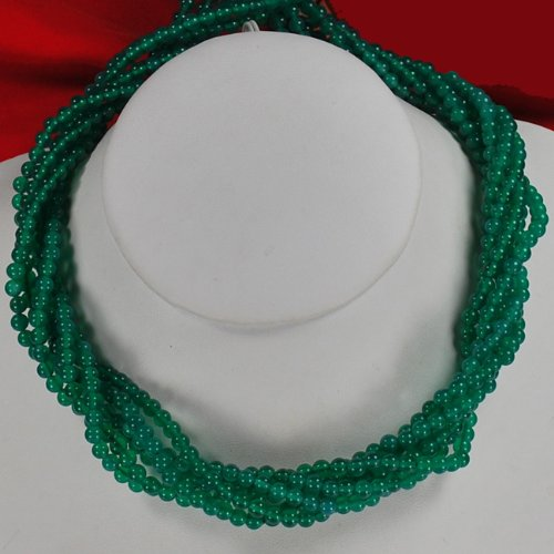 Multi Strands Green Jade Silver Toggle Necklace N2_0711_06