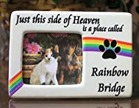 "Rainbow Bridge Pet Memorial Picture Frame -- ""Just This Side of Heaven Is a Place Called Rainbow Bridge"" Saying Is Printed Next to the Square Photo Opening -- Plaque Measures 4.5""w X 3""h -- Pet Loss Gift, Pet Bereavement, Pet Memorial"