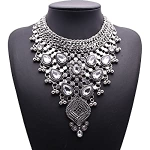 Koson-Man Womens Multi Bling Long European Crystal Chain Necklace Wedding Party
