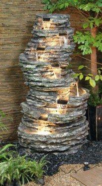 Fontaine Cascade en Plateaux de Roches - avec Lumières