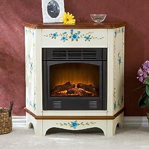 Petite Electric Fireplace Cottage Floral Design Antique White Finish