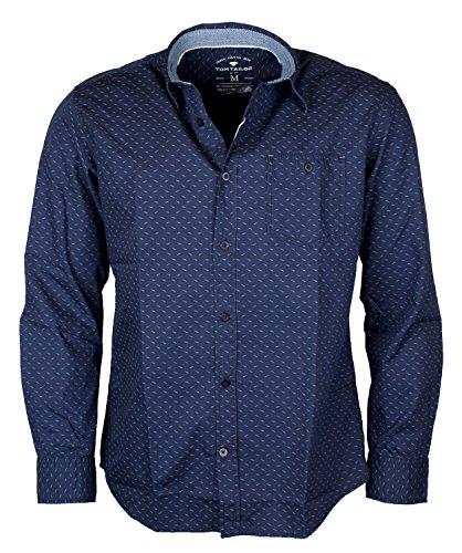 Camicia Tom Tailor - maglia a maniche lunghe con spazio-Over Print blu navy Small