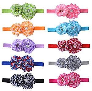 Qandsweet Baby Girl's Headbands Hand Sewing Beads Mesh Crystal Flower (10 Pack Rainbow Flowers)