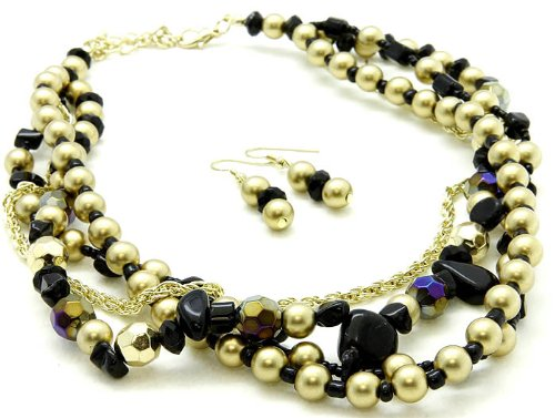 NECKLACE AND EARRING SET BEAD 18 INCH LONG BLACK Fashion Jewelry Costume Jewelry fashion accessory Beautiful Charms