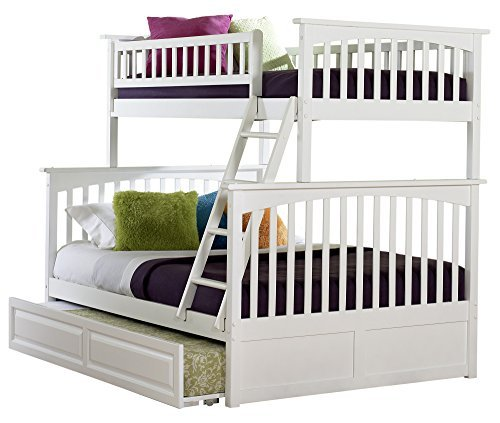 Perfect Atlantic Furniture Columbia Bunk Bed with Trundle Bed Twin Over Full White