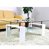 美感でスタイリッシュテーブル 120×50cm 丁度良い大きさ ディスプレイ センターテーブル 安心の強化ガラス ホワイト色