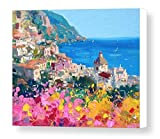 "Large Canvas Wall Art Ready to Hang ""Romantic Positano"" (Print Sizes 16x20, 20x25, 24x30, 30x38) Italian Coastal Beach Decor - Made in Italy - by Agostino Veroni"