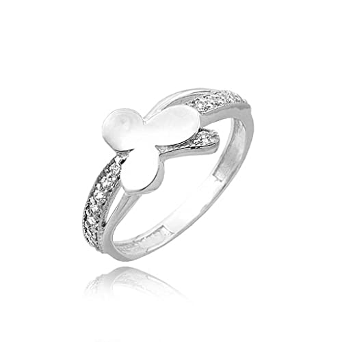 Gold clover on zirconia pave ring
