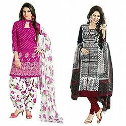 Sky Global Women's Printed Unstitched Regular Wear Salwar Suit Dress Material (Combo pack of 2)(SKY_Combo_360)(SKY_532_Pink)(SKY_504_MultiColour)