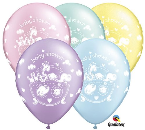 "11"" ""Baby Shower"" Adorable Ark Assorted Latex Balloons - Package of 12"