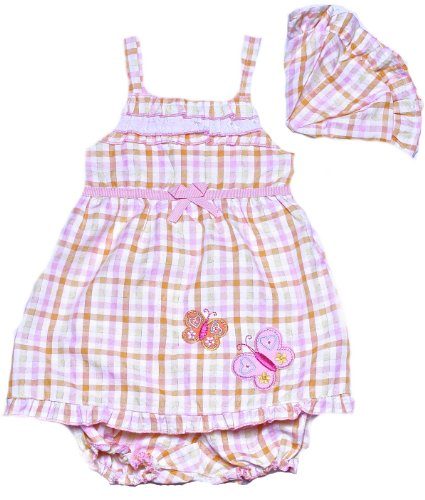 Coney Island Baby Girls Orange Plaid & Butterfly Appliquer Sundress With Hat24M back-754021