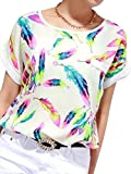 SaiDeng Ladies Short Sleeve Chiffon Print Blouse Tops T Shirts Size L White