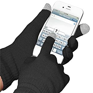 Amzer Capacitive Touch Screen Knit Gloves - Black (AMZ92804)