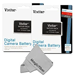 (2 Pack) Vivitar LP-E12 Ultra High Capacity 1275mAh Li-ion Battery for CANON REBEL SL1, EOS M, 100D (Canon LP-E12 Replacement)