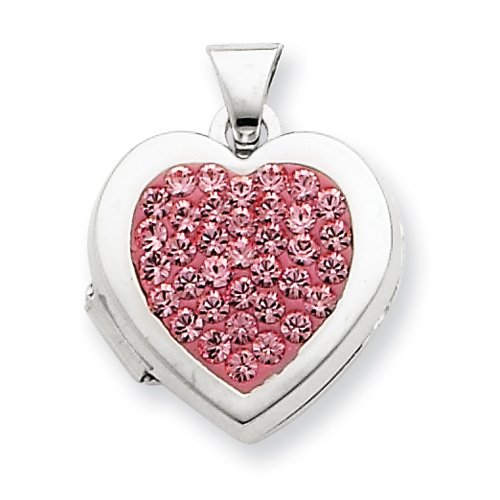 Sterling Silver Pave Pink Crystal 15mm Heart Locket