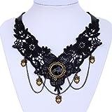 Yazilind Schmuck -Spitze-Kragen Halskette Gothic Lolita Herz Anhänger Kette reizvollen edlen für Frauen