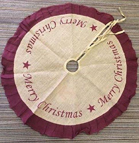 Burlap Ruffled Christmas Tree Skirt Burgundy Stenciled (Merry Christmas, 36 Inch)
