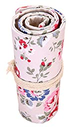 iSuperb® Colored Pencil Wrap Organizer Roll Pouch Canvas Multi-purpose Drawing Pencil Bag 72 Pencil Holder for School Office (72 Holes, Floral Pattern)