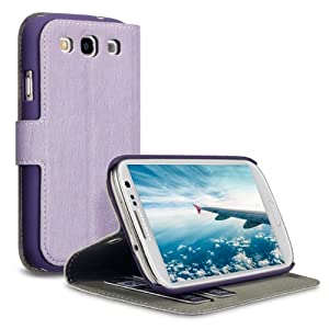 SAMSUNG i9300 GALAXY S3 HANDY DELUXE LEDER TASCHE CASE HÜLLE, COVERT RETAIL VERPACKUNG (LILA)